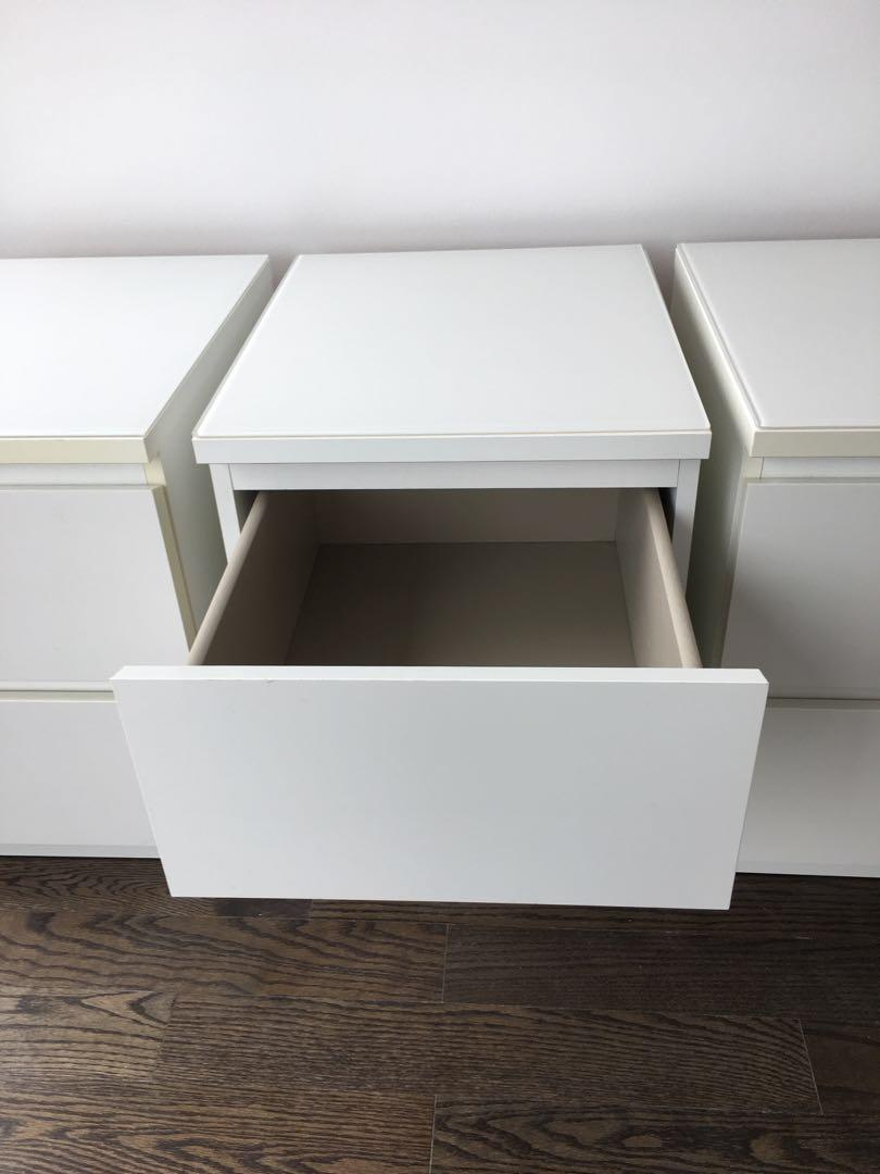 Four IKEA MALM 2-drawer chests, white, with glass tops