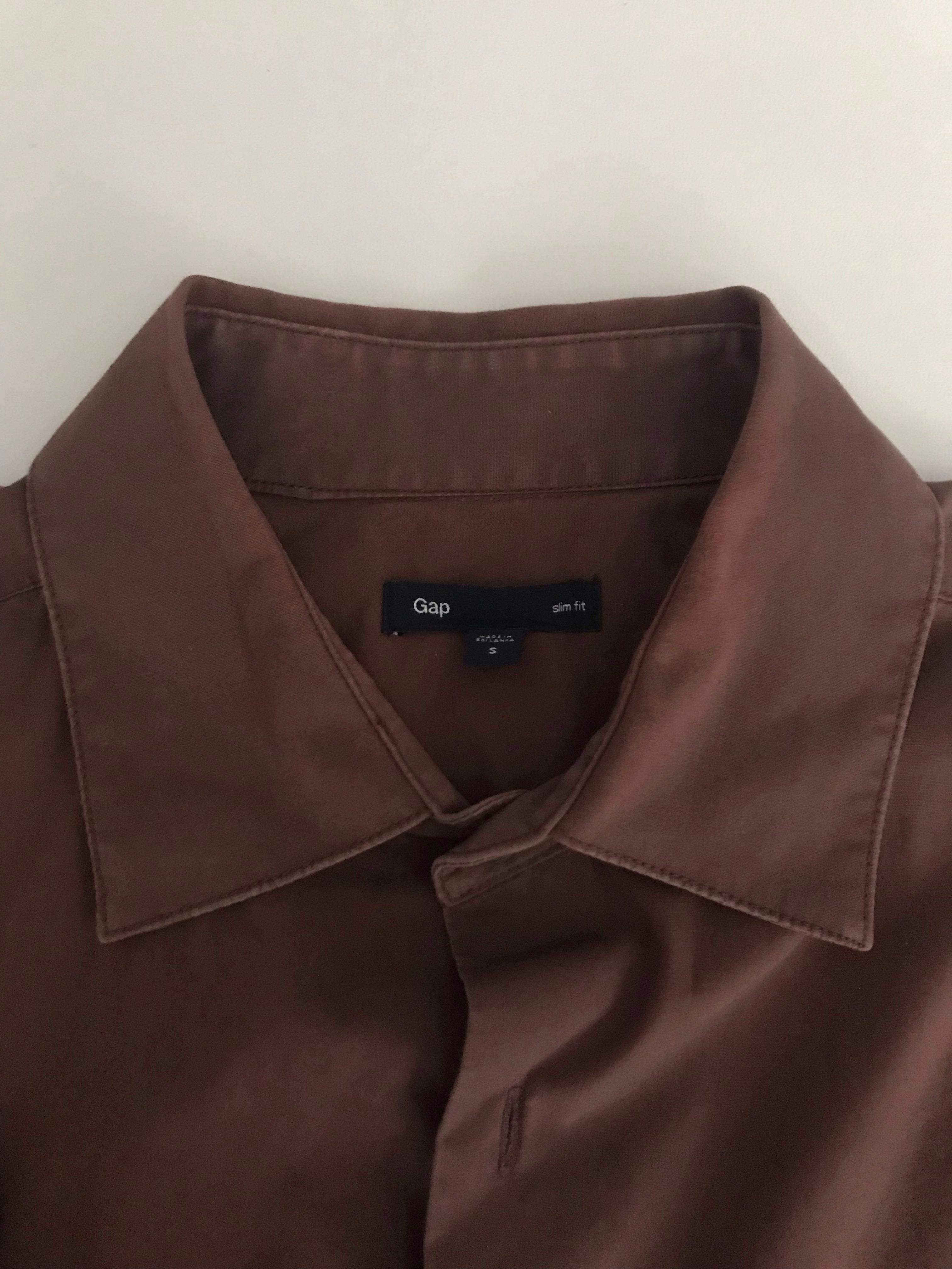 GAP Cool Slim Fit Dark Brown Button Down Shirt #mauvivo