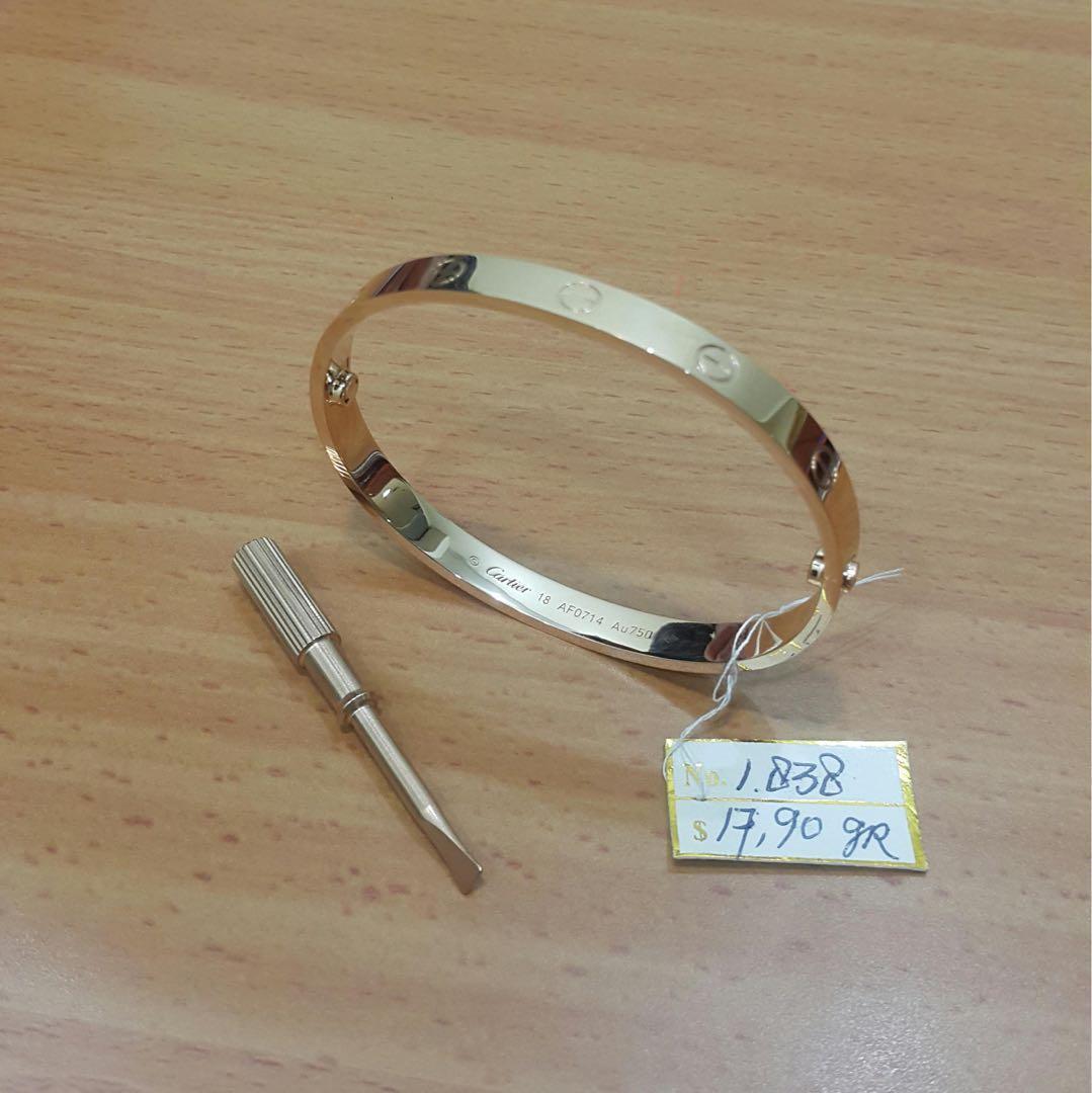 gelang cartier emas asli italy kadar 750% handmade hongkong
