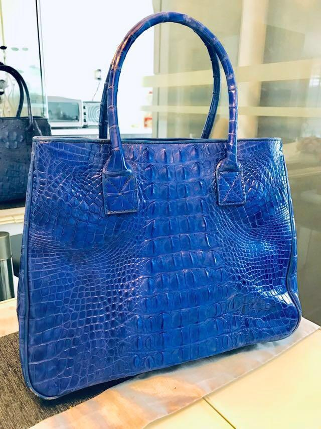 Genuine crocodile skin handbag