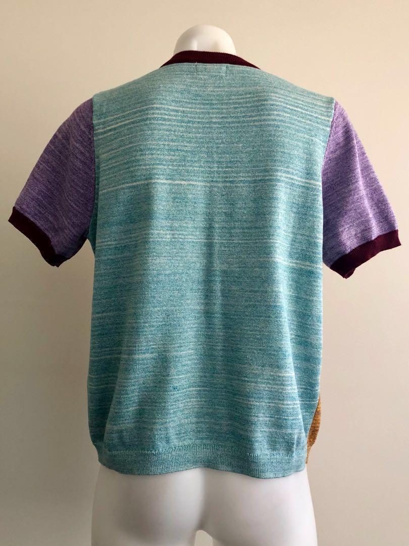 Gorman Fine Cotton Blend Colour Block Short Sleeve Knit Top