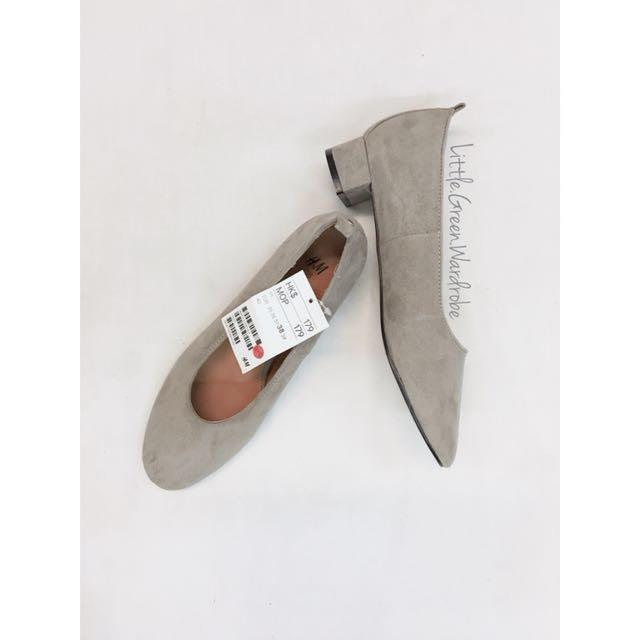 🛍H&M 低踭絨面鞋 灰色 Low Heel #跟我一起半價出清