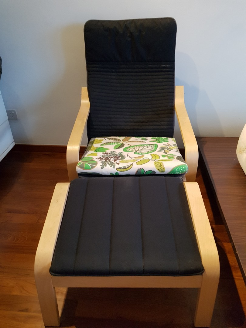 Fabulous Ikea Poang Chair With Foot Stool Or Armchair For Adults Ibusinesslaw Wood Chair Design Ideas Ibusinesslaworg