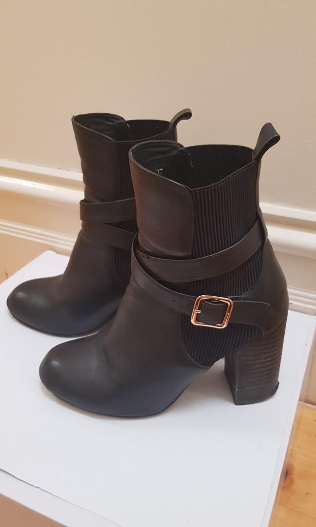Leather ankle boots with gold buckle + strap detail