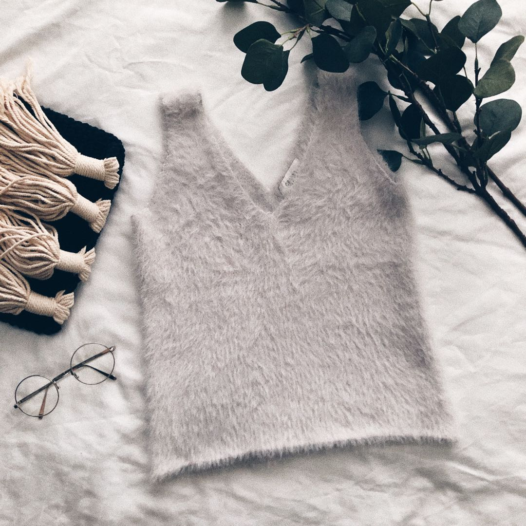 Light Grey Fur Tank Top