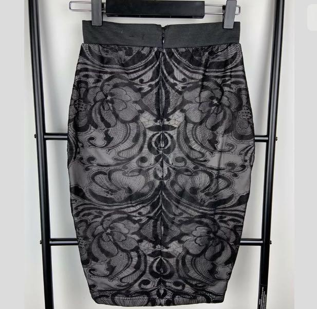 Lipsy 8 black velvet floral blush pink women bodycon fitted skirt party casual