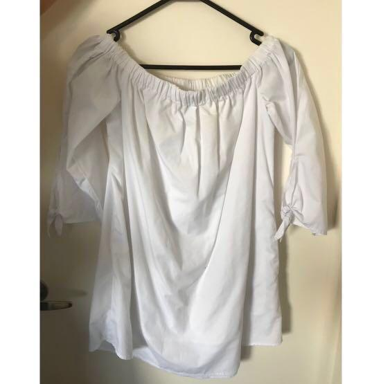Lucca Couture off the shoulder 3/4 sleeve white dress - Size XS