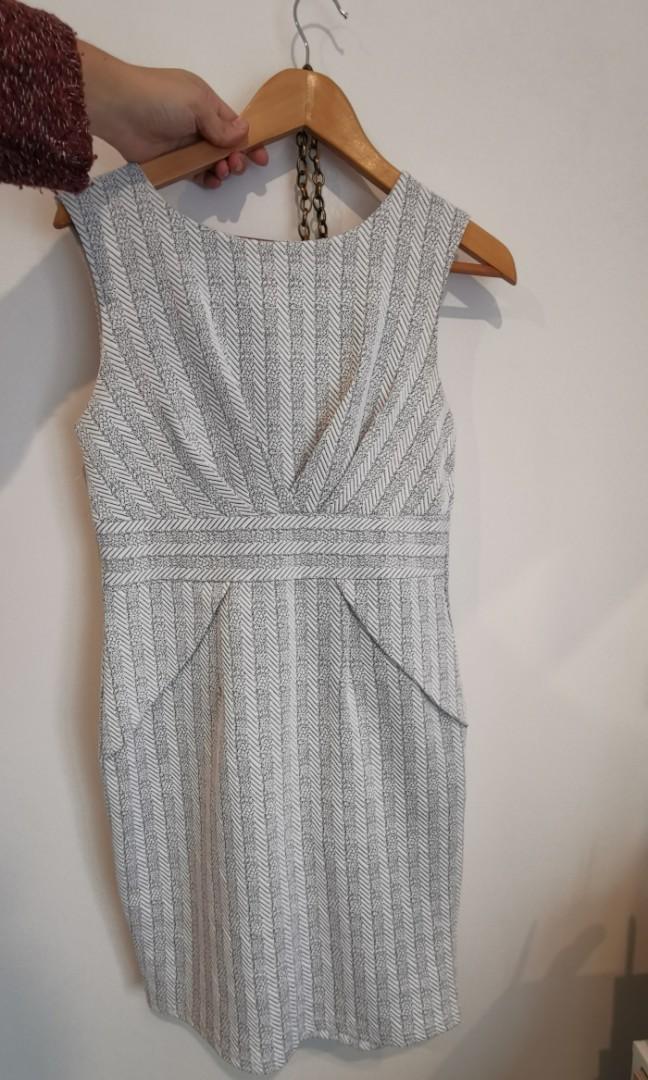 Mirrou White Stripped Dress size 12
