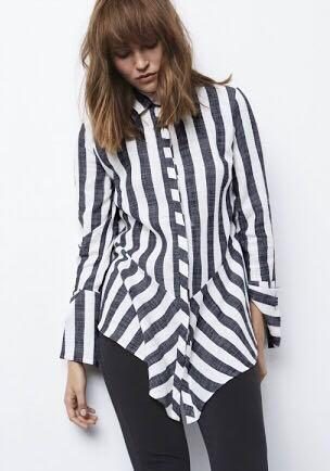 OnceWas Intersect Cross Over Linen Blend Yoke Shirt in Stripe, Size 1 - oversized fit (Brand New). RRP $279.95