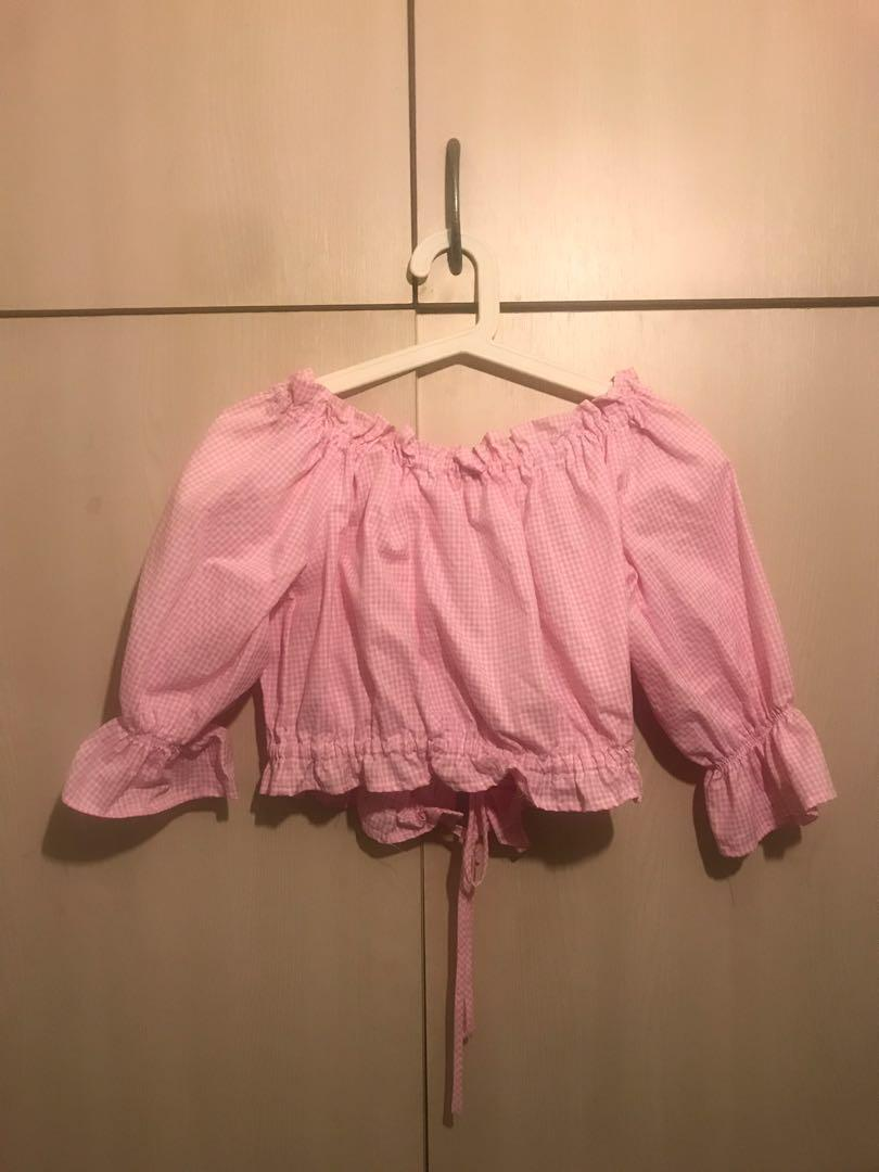 Pink Checkered Rouches Crop TOP