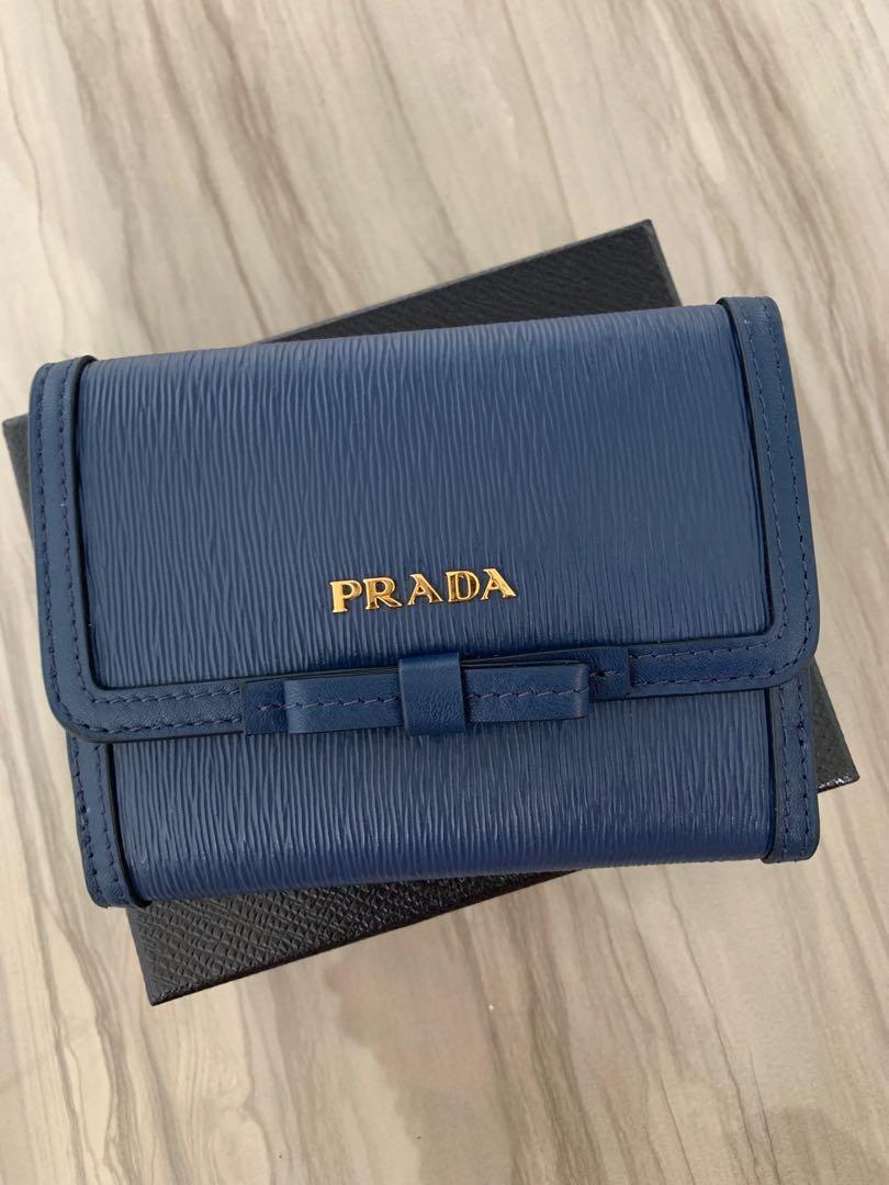 d06c7a41 Prada Wallet - Blue Vitello Move Leather Bluette Bi-fold Bow