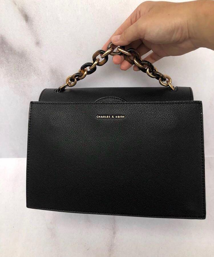 Preloved Charles & Keith Bag CK Chain Black (Free dustbag CK)