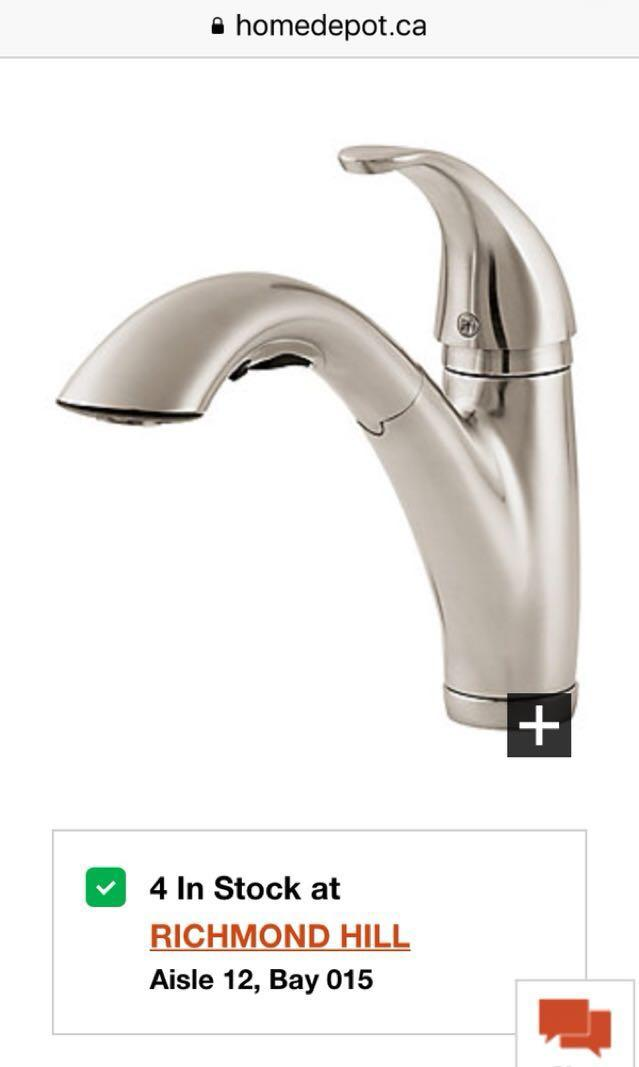 Price Pfister Parisa Pull Out kitchen faucet in a sealed box.