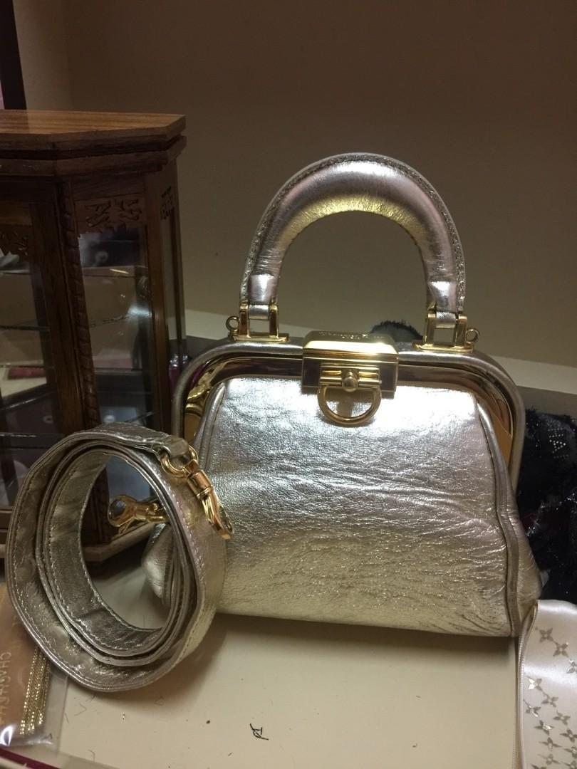 RARE Authentic Christian Dior vintage doctor style micro mini silver bag