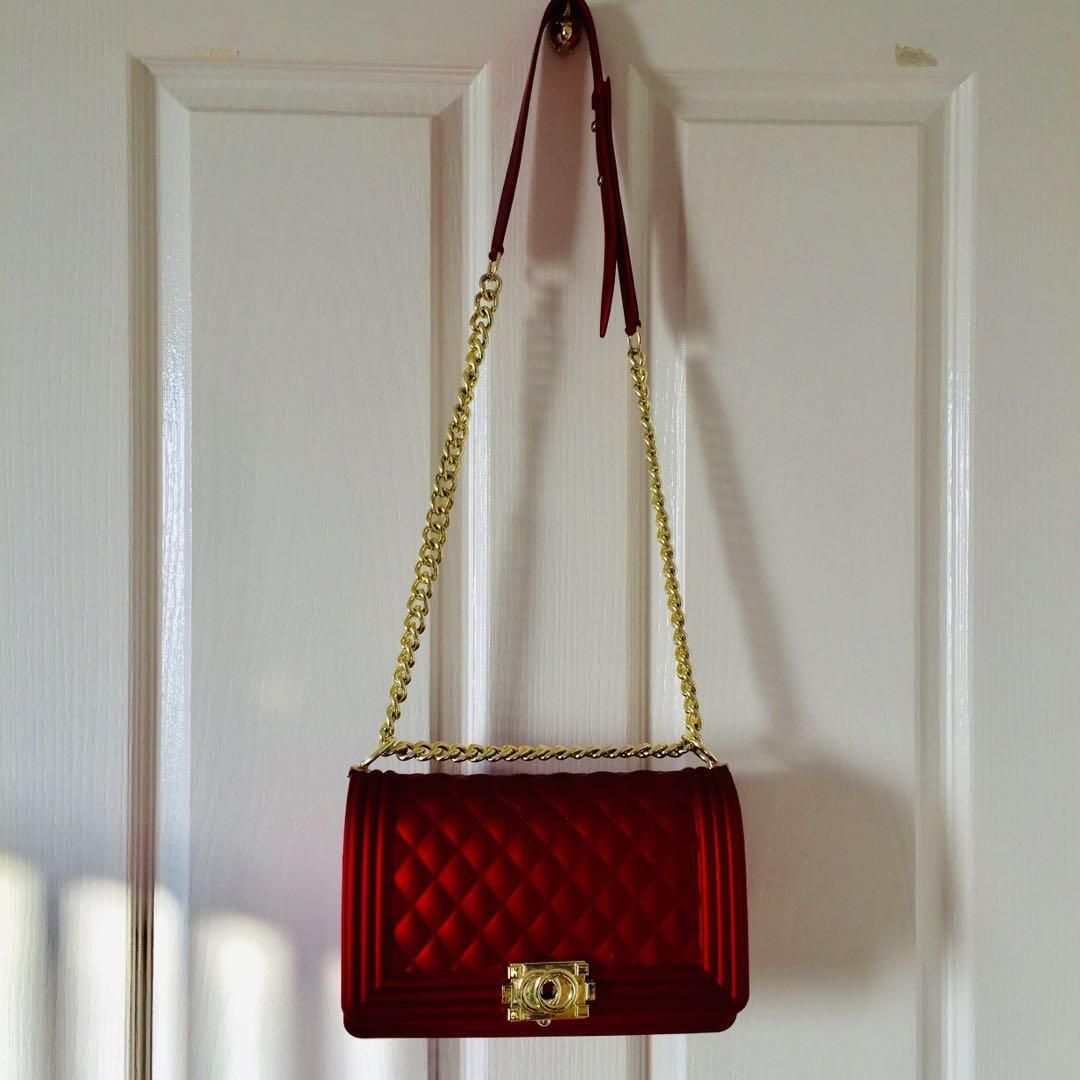Red clutch handbag