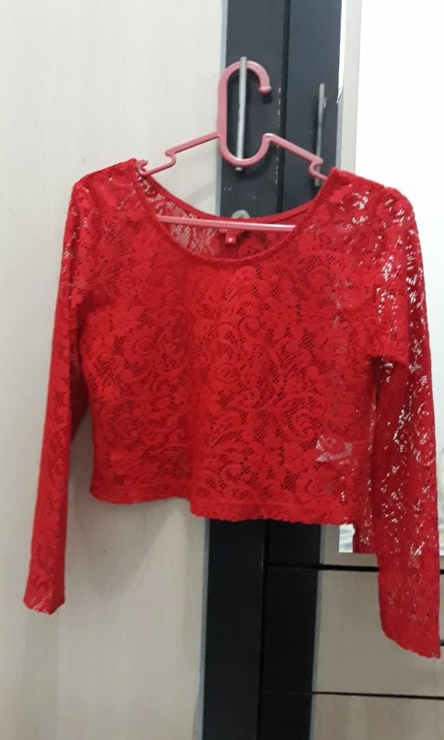 red lace crop top #mauvivo