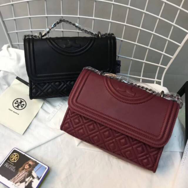 Premium Tory Burch Fleming Small Bag 22cm Black Maroon