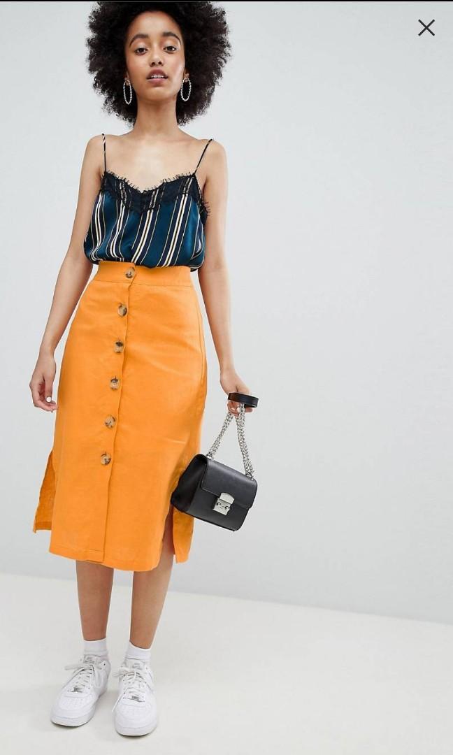 Summer Orange 'Bershka' High Waisted Pencil Skirt (Size