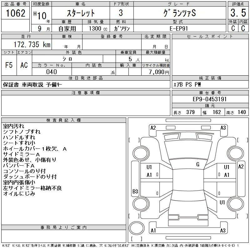 TOYOTA STARLET グランツァS 1998 1300cc(價錢面議)