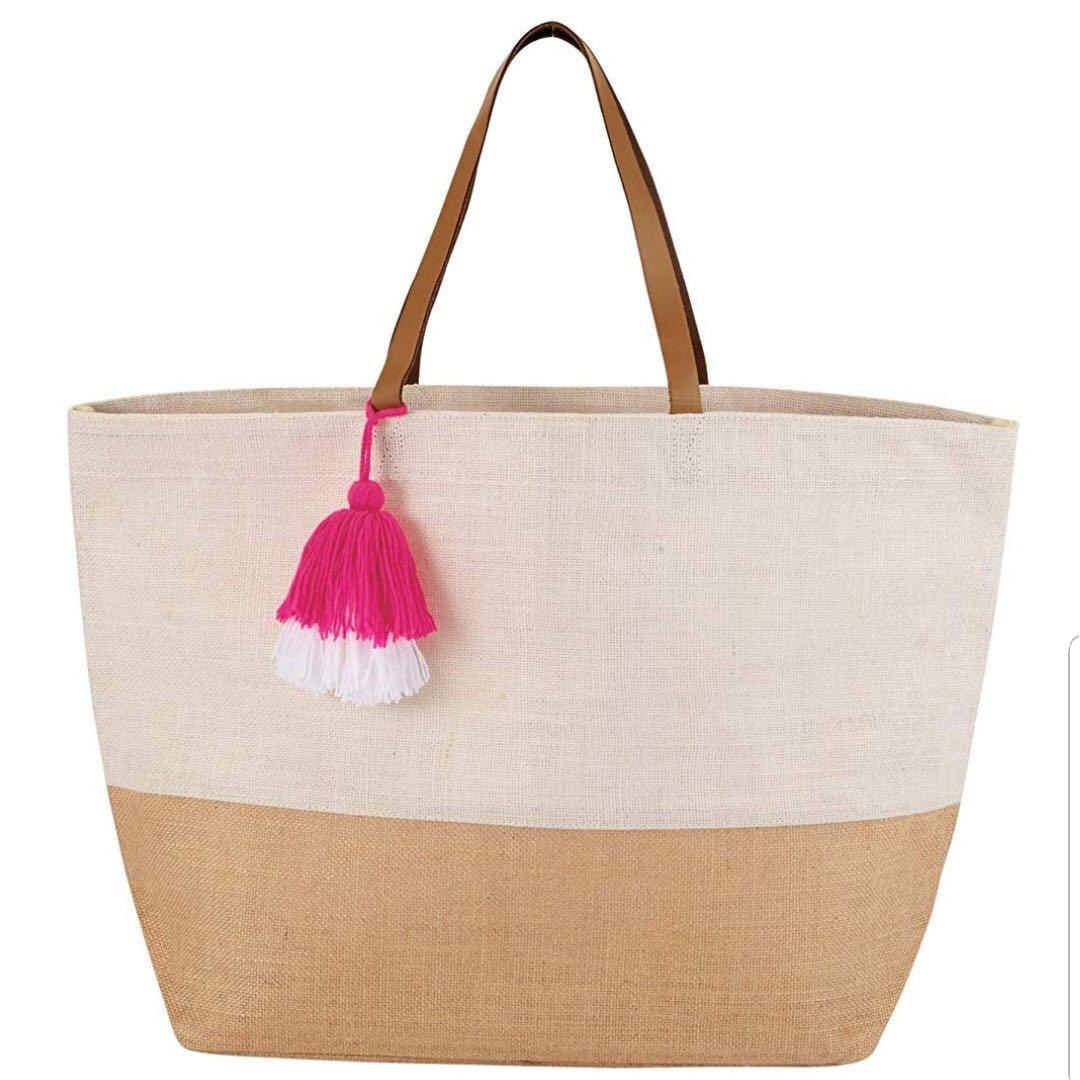 🙏🏻WESAK Spécial🙏🏻Mud Pie Color Block Jute Tote Beach Bag