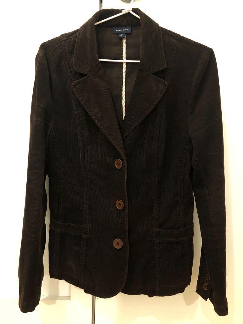 Witchery choc brown corduroy jacket