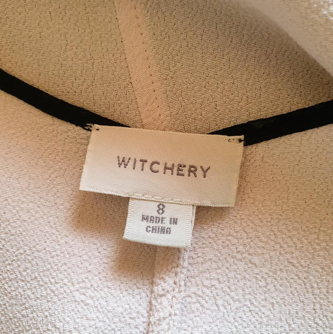 Women's size 8 'WITCHERY' Gorgeous beige and black accents hi low tunic top - AS NEW