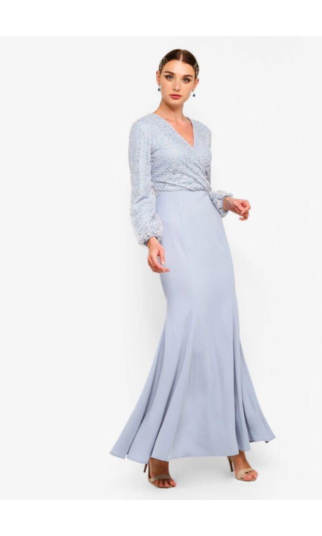 ZALIA Embroidered Lace Wrap Mermaid Dress in Light Blue S