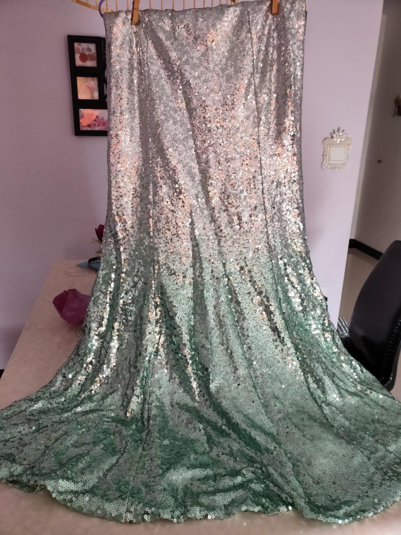 Zalia green gradient sequin long skirt