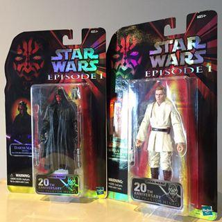 """Set of 2 MISB 6"""" Star Wars Black Series Darth Maul & Obi Wan Kenobi"""