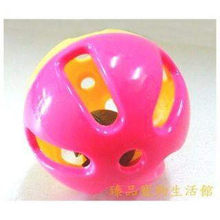 ==臻品寵物生活館==粉/黃雙色小鈴鐺彩球.彩色滾球鳥玩具.色彩鮮豔.吸引鳥兒注意力!降低自閉/躁鬱症/啄羽癖的發生率.
