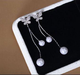 耳夾耳環 無耳洞耳環 蝴蝶閃石珍珠耳環 earrings with clips