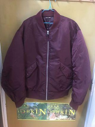 UNIQLO Bomber Jacket in Burgundy