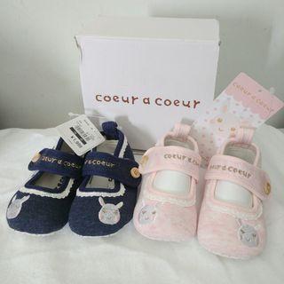 coeur a coeur 粉紅/藍色 嬰兒BB學步鞋 純棉布柔軟學行鞋 底有防滑膠粒 出口日本 (部份有吊牌及鞋盒) 3個碼11.5/12/12.5cm