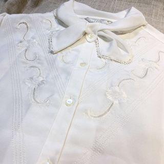 🚚 日本製 古着 小領結刺繡白襯衫 vintage 薄款 雪紡
