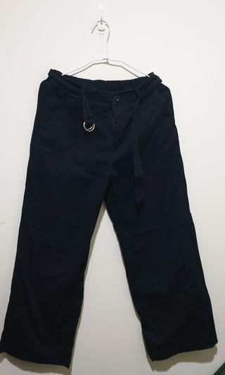 《二手》寬版黑色長褲