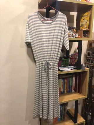 正韓 棉質條紋長洋裝