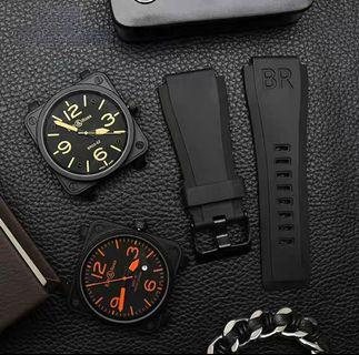 INSTOCK Bell & Ross/ BR 24MM Black Rubber Watch
