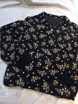 🚚 日本製 古着 花朵金釦花襯衫 外套 vintage