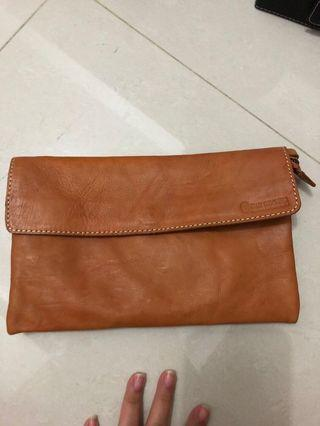 Pouch tas kulit leather brown premium asli bank indonesia limited unisex