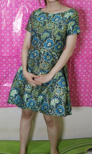 Mini dress green flowers kece badai