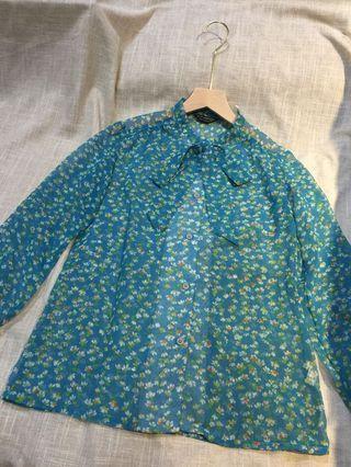 🚚 韓國製 古着 輕薄透膚款 夏日小碎花衫 vintage 絲質