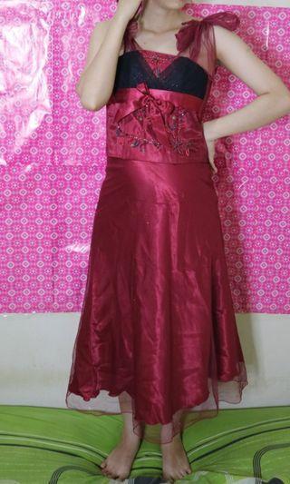 Red dress 1 set (rok plus atasan)