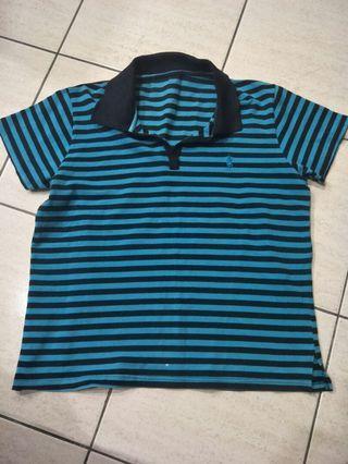 Collar striped T-shirt