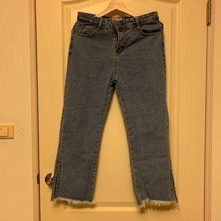 🚚 側邊開衩牛仔寬褲