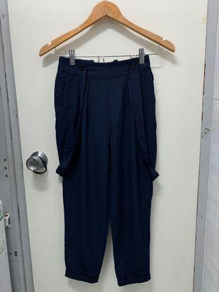 春夏深藍色七分雪紡西裝褲 附吊帶可拆