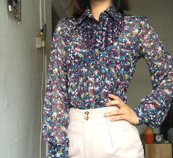 Vintage Floral Blouse with ruffles