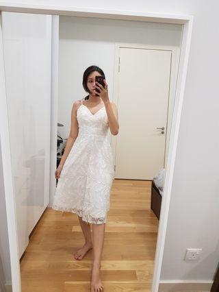 White midi pink sequin feather dress party