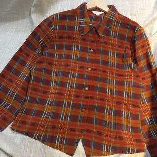 古着 復古格子襯衫 vintage 絲質襯衫