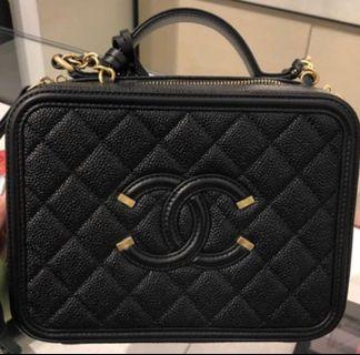 Chanel vanity case 化妝箱包 黑色中size medium size