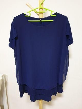 Plus size - Navy chiffon with cotton inner top